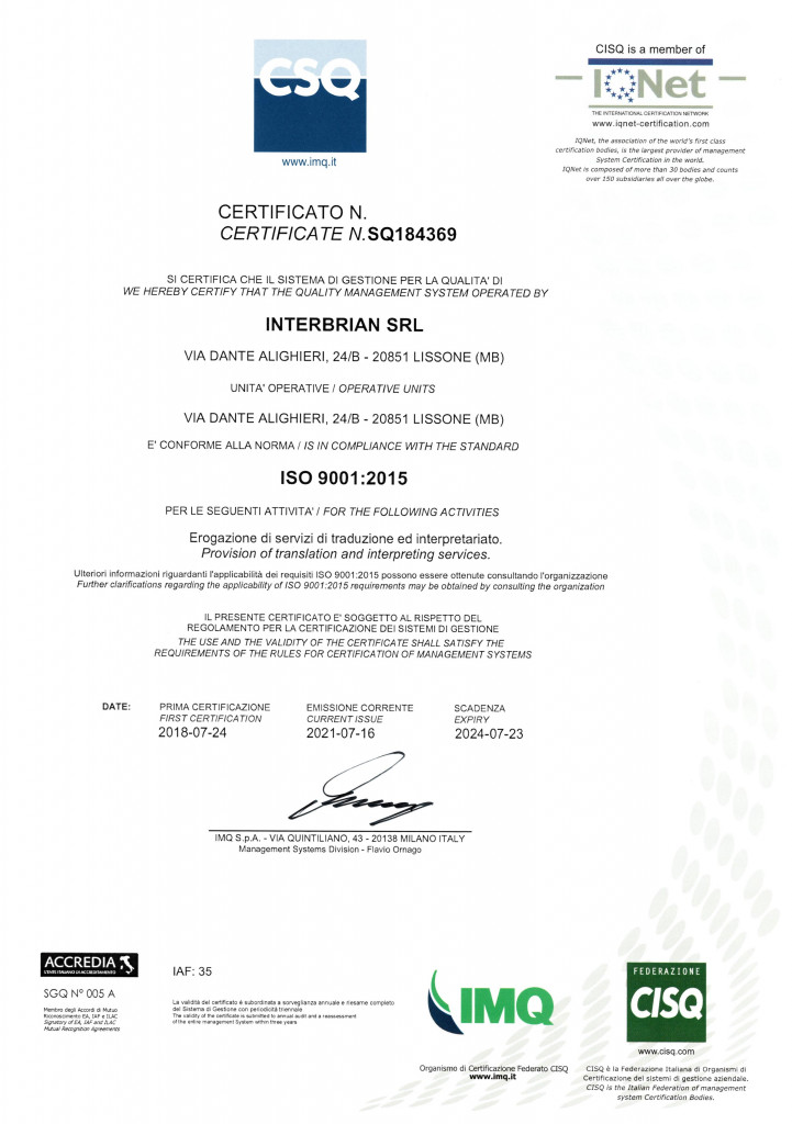 Certificato CSQ + IQNET-1